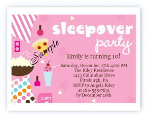 details about 12 personalized custom girl girls slumber party sleepover birthday invitations