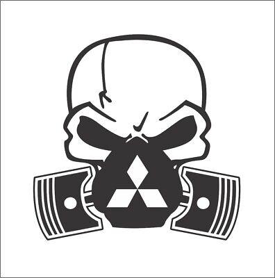 Mitsubishi Logo Skull Bumper Window Vinyl Decal Stickers