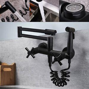 details about modern matte black wall mount pot filler kitchen faucet hot cold with sprayer us