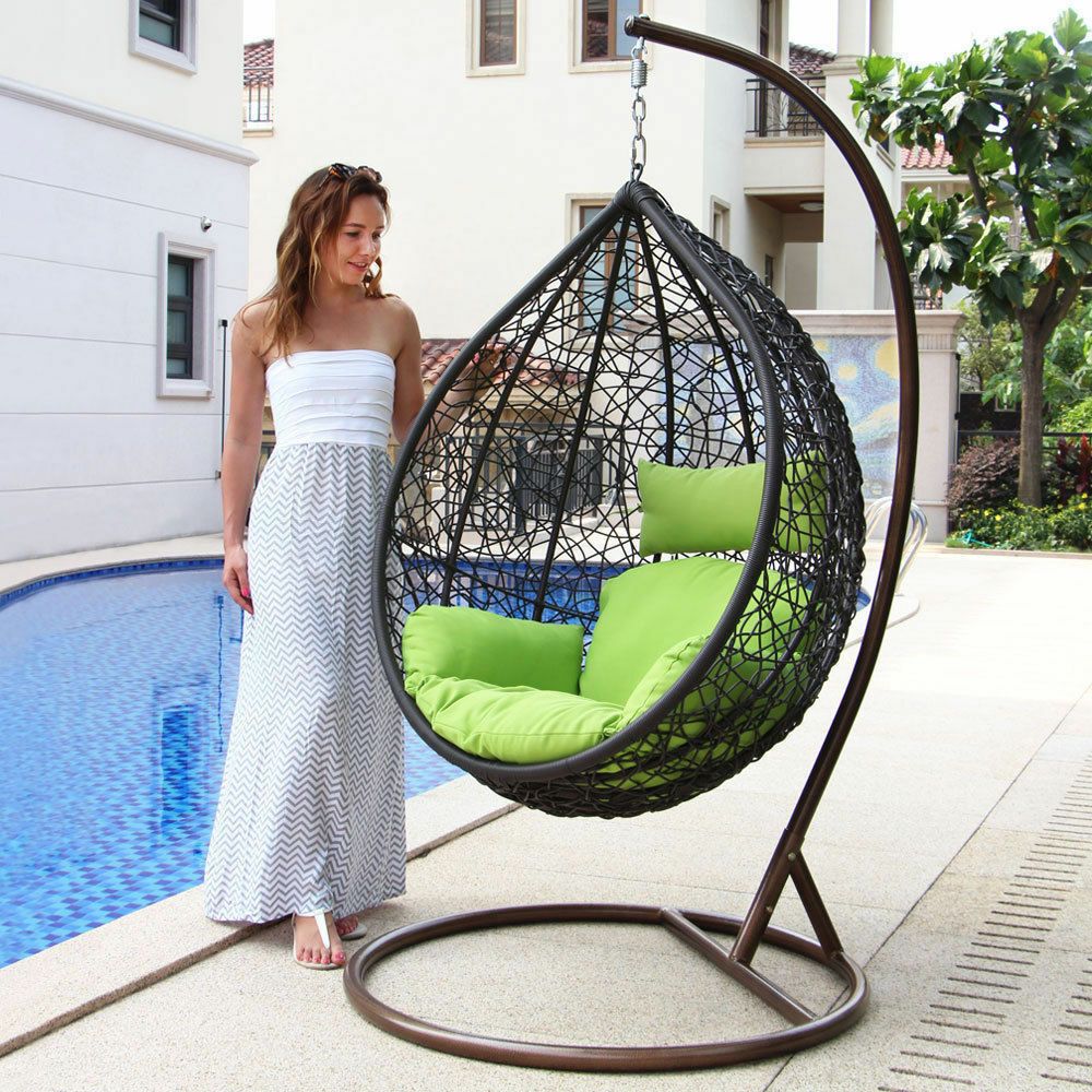 Egg Swing Chairs Patio Wicker Swing Chair Hanging Chair Hammock Stand Outdoor Egg Chair Furniture