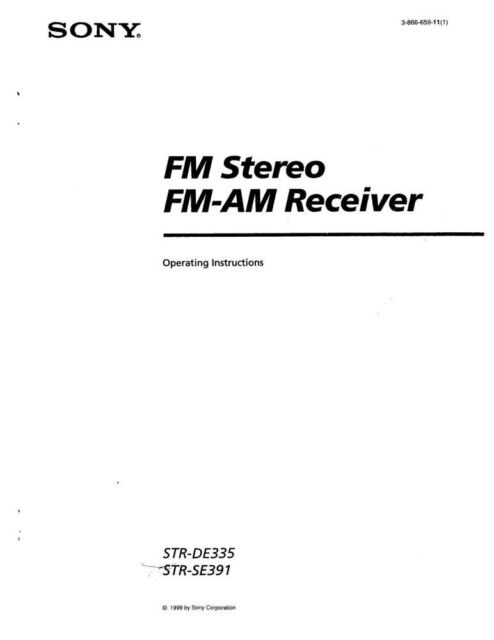 Sony STR-DE335 STR-SE391 AV Receiver Owners Manual Printed