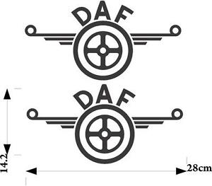 DAF logo stickers 2 x for bodywork glass and clean hard