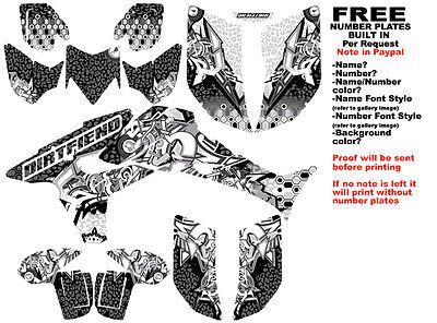 DFR BURNER GRAPHIC KIT BLACK FULL WRAP 04-05 HONDA TRX450R