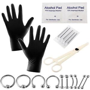 10-20 Teile / satz Piercing Kit Werkzeuge Nadel Bauch Zunge Augenbraue Nase Du