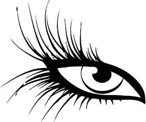 2 beautiful eyes with long lashes vinyl wall decal or
