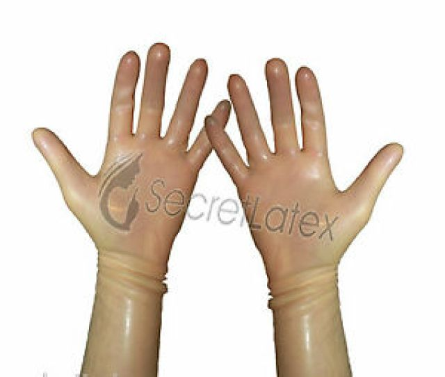 Image Is Loading Latex Transparent Gum Shiny Wrist Gloves Hands Rubber