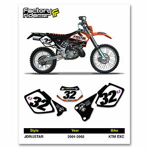 2001-2002 KTM EXC Dirt Bike Graphics Custom Number Plates
