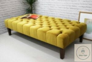 details about extra large chesterfield footstool coffee table in plush velvet fabric