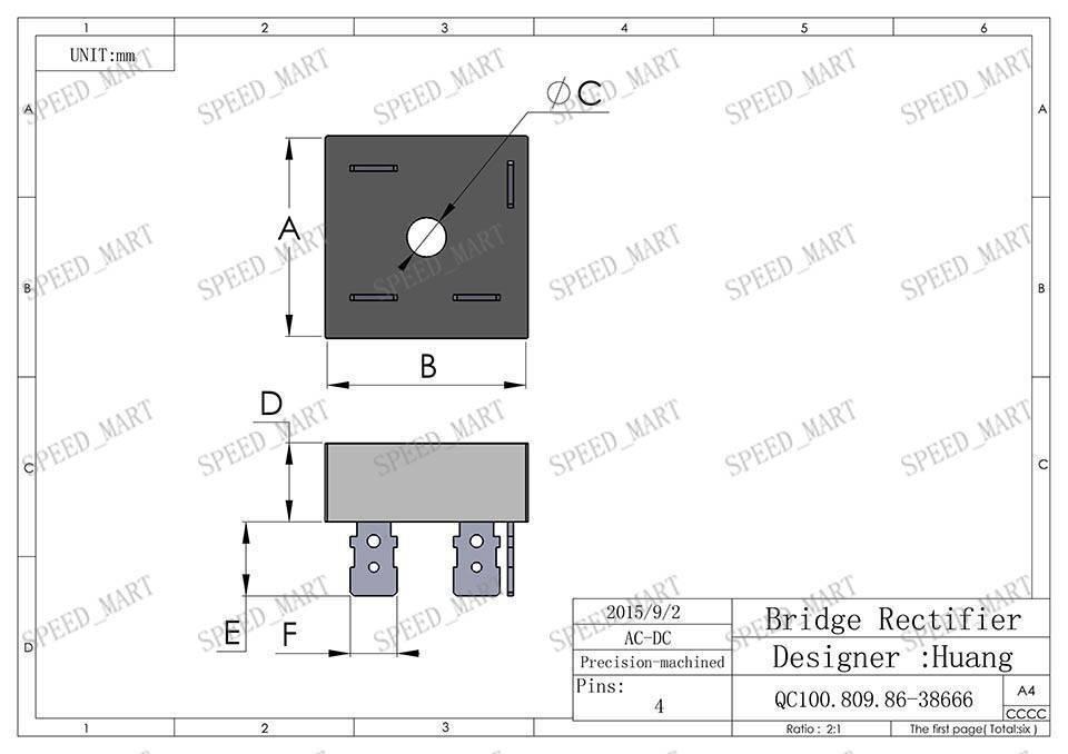 5 pcs KBPC5010 Bridge Rectifier Gleichrichter 1000V AC