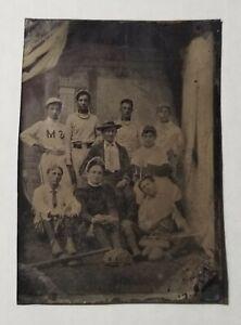 1890s Baseball Tintype Team Photo with Equipment Bat Catchers Mask Early Glove | eBay