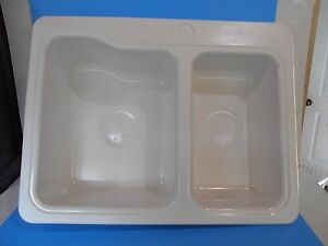 rv kitchen sinks tables with bench sink 25 x 19 60 40 double 3 hole white 137020 free image is loading 034