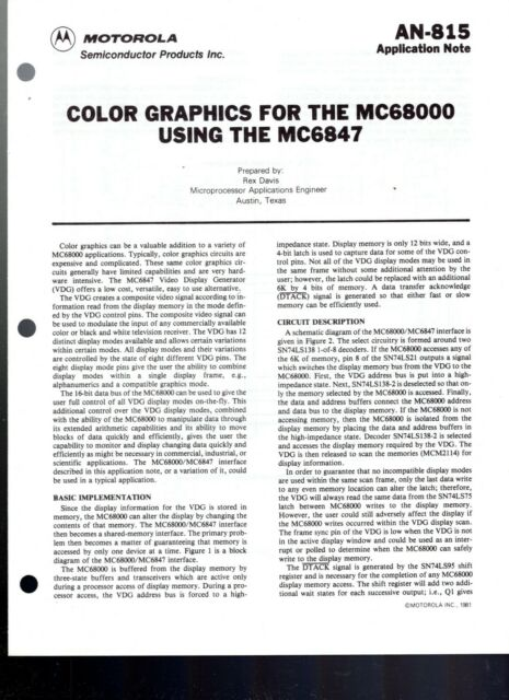 Original Motorola Application Note 815 Color Graphics For