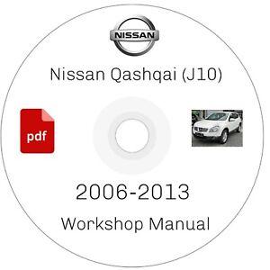Workshop Repair Manual For Nissan QASHQAI J10 SERIES DISC