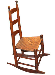 types of rocking chairs dining table accent antique early new england shaker type chair splint seat image is loading