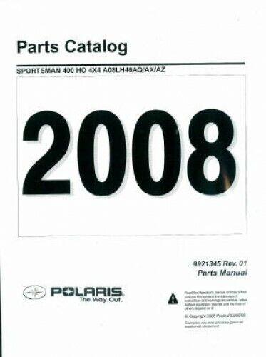 2008 Polaris Sportsman 400 HO 4X4 Parts Manual : 9921345