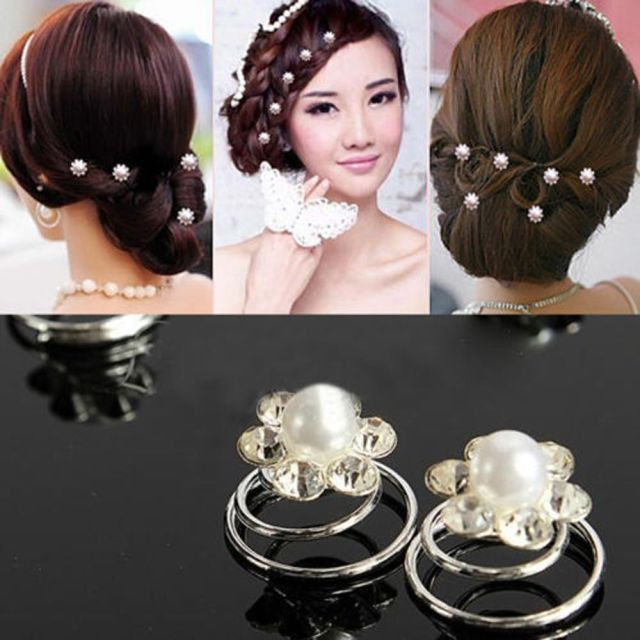 12pcs bridal wedding party swirl spiral coils hair pin prom crystal flower pearl