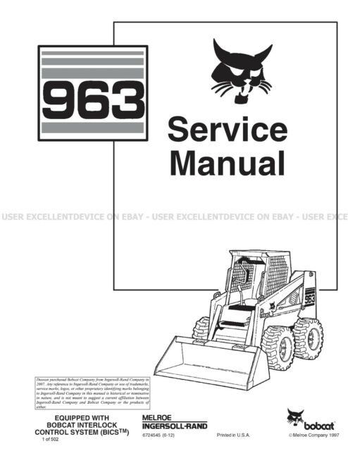 Bobcat 963 Skid Steer Loader Service Manual 6724545 for