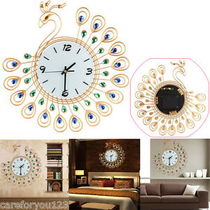large pictures for living room wall ideas indian style luxury diamond peacock clocks metal image is loading