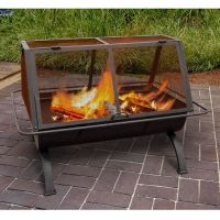 Outdoor Fire Pit Wood Burning Rustic Heater Patio Black ...