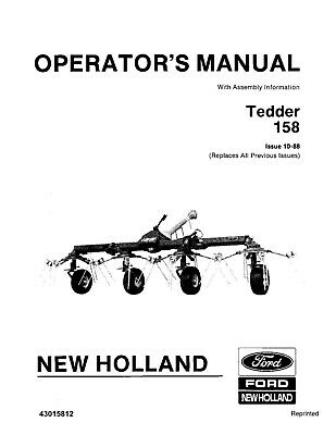 NEW HOLLAND 158 Tedder with Assembly Information OPERATORS