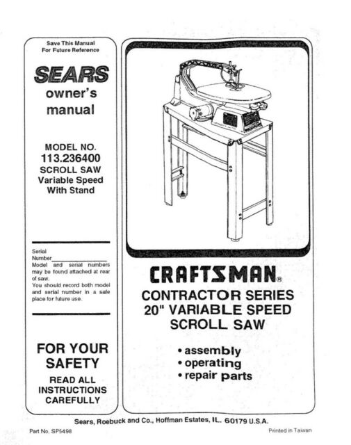 Craftsman 113.236400 Scroll Saw Owners Instruction Manual