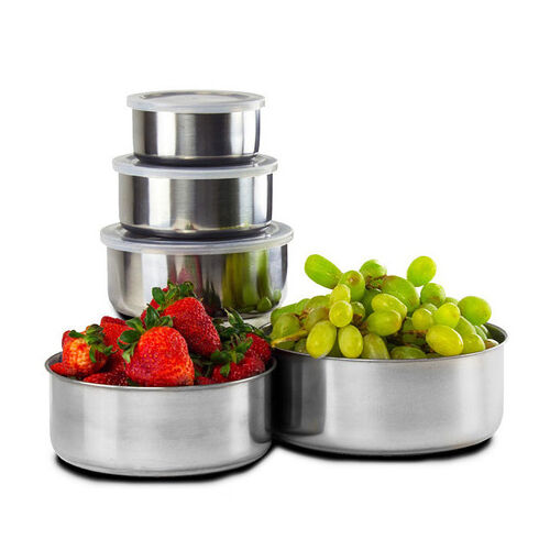 10 Piece : Home Collections BPA Free Stainless Steel Clear Storage Bowl Set 2