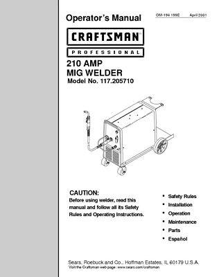 Craftsman 117.205710 Mig Welder Owners Instruction Manual