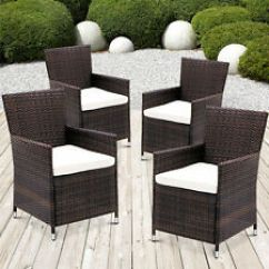 Rattan Garden Dining Chairs Uk Grey Table And 2x Chair Brown Waterproof Outdoor Patio Item 4 X Furniture Set