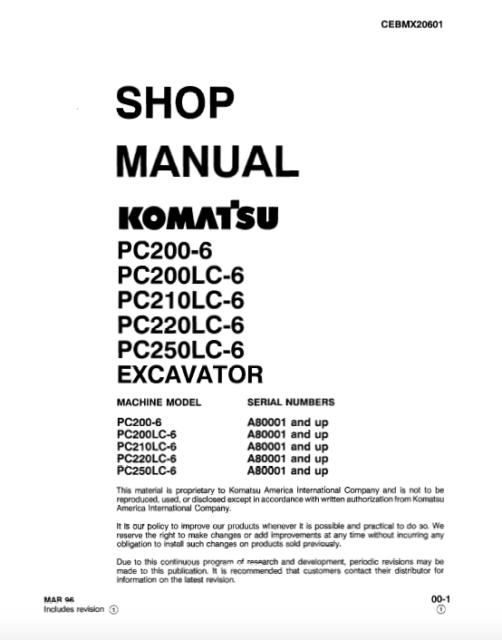 Komatsu Excavator PC200-6, PC200LC-6, 210LC-6, PC220-LC6