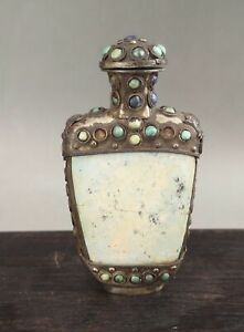 A very fine Chinese 19C stone inlayed metal snuff bottle with cover-Guangxu