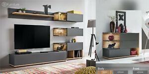 Modern Wall Tv Display Unit Silk Wotan Anthracite Push Click Led S Free P P Ebay