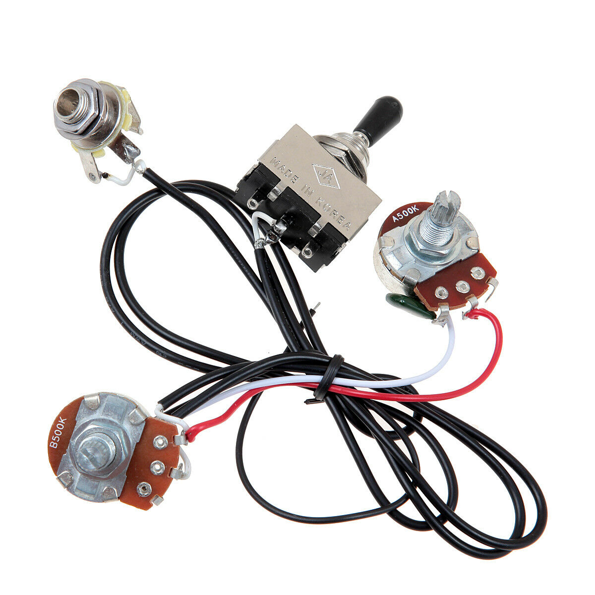 hight resolution of guitar wiring harness prewired two pickup 500k pots 3 way toggle 3 way switch guitar wiring harness
