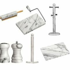 Marble Kitchen Accessories Knobs Or Pulls White Rolling Pin Cheese Slicer Chopping Image Is Loading