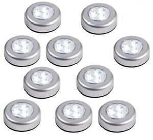 details about set of 6 round led battery operated stick on under cabinet cupboard push lights