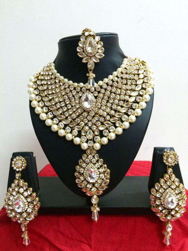 Indian Bollywood Diamante Kundan Pearl Gold Tone Bridal
