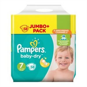 Pampers BabyDry Size 7 Nappies 58 Jumbo Pack eBay