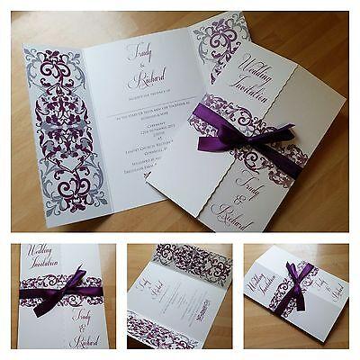 1 Sample Personalised Purple Grey Gatefold Wedding Invitations Ebay