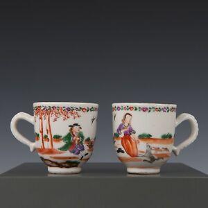 Nice rare pair of Chinese mandarin porcelain coffee cups, Dutch couple, 18th ct.