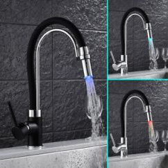 Led Kitchen Faucet Pantry Shelving Systems Taps Pull Out Spray Basin Mixer Sink Tap Chrome Black Image Is Loading