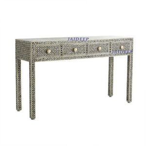 details about handmade antique bone inlay geometric black 4 drawer console table