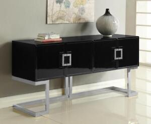 black lacquer sofa table charleston slipcover pottery barn meridian furniture beth modern chrome steel buffet image is loading