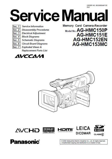 Panasonic AG HMC 150 HMC 151 HMC 152 HMC 153 Service