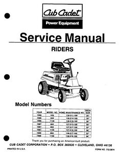 Snapper Rear Engine Riders (1986 1987 1989) Service Repair