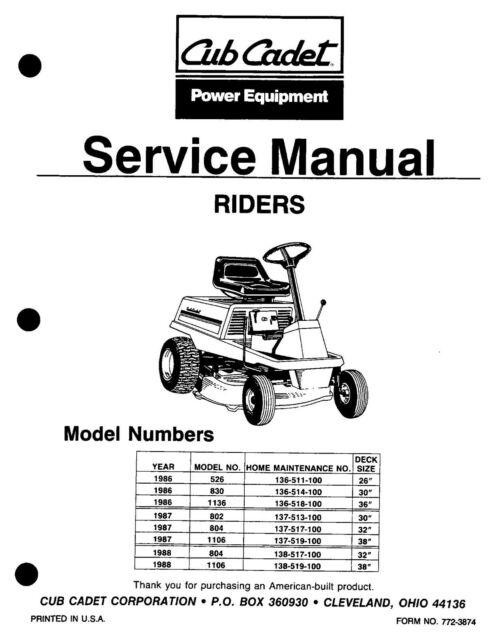 Snapper Rear Engine Riders (1986 1987 1989) Service Repair