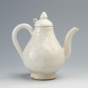 Antique Chinese White Glaze Carving Grape Porcelain Flagon