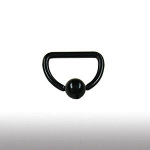 1,6mm D-Ring Schwarz Ohr Intim Brust Piercing Klemmkugel Ring Schwarzes Titan