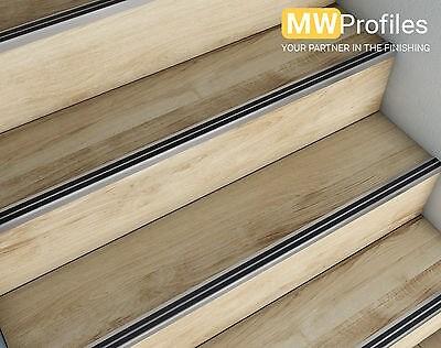 15 X Aluminium Stair Nosing Edge Trim Step Nose Edging Nosings | Non Slip Nosing For Carpeted Stairs | Brown Cinnamon | Stair Tread Nosing | Aa123 | Laminate Flooring | Slip Resistant