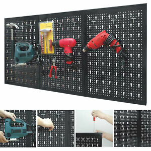 details about peg board garage wall tool rack 3 panel hanging storage shed tidy steel pegboard