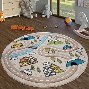 details sur tapis enfant chambre enfant tapis rond poils ras motif route beige
