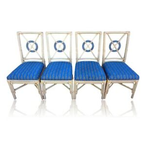 dining chairs set of 4 target steel patio vintage mcguire style back rattan image is loading